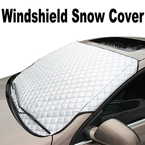 Beoson Windshield Snow Cover - Frost Windshield Cover - Snow, Ice, Frost Guard - Door Flaps Windproof, Fits Compact Cars, Sedans, Small Crossovers & Small SUVs - 56(W) X 36(H) (Standard-Size)