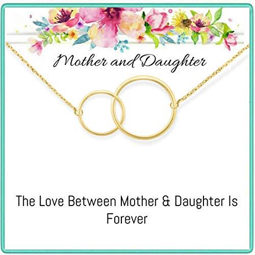 Onepurposegifts Mother Daughter Necklace, Gifts for Mom, Mom Necklace, Mother Necklace, Mother's Day Jewelry, 2 Interlocking Circles (Gold Interlocking) ()