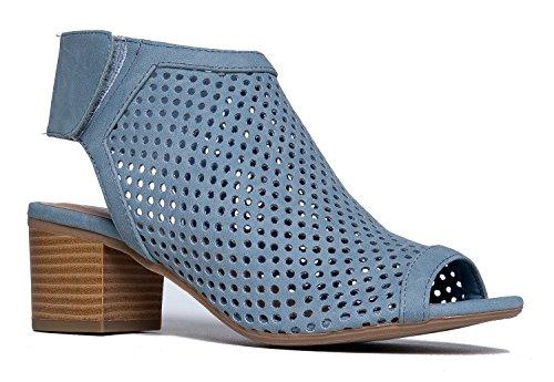 Cut Out Velcro Strap Bootie - Slip On Low Stacked Heel - Open Peep Toe Cutout Shoe Maddie by J Adams