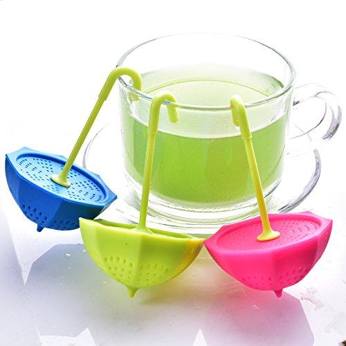 Tea Bag Infuser-Senbowe™ 3 Pack Colorful Genuine Premium Silicone Umbrella Reusable Tea Ball Infuser Strainer Steeper Set for Loose Leaves & Herbal Teas-Great Gift for Tea Lovers by senbowe (Image #5)