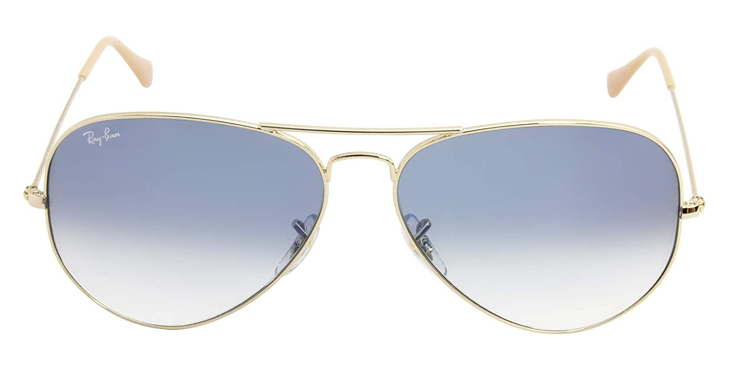 9537c297836 Amazon.com  Ray-Ban RB3025 Large Aviator Sunglasses Arista Gold w Blue  Gradient (001 3F) 3025 62mm Authentic  Clothing