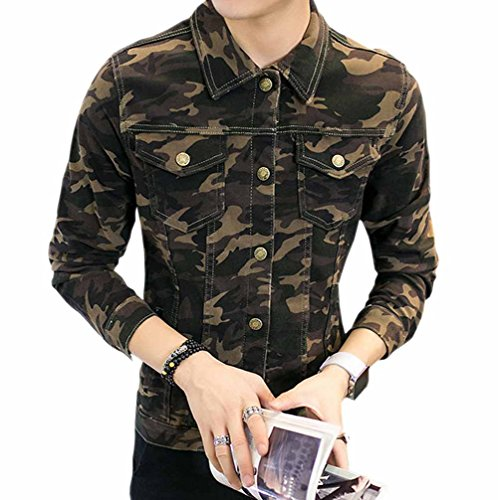 Camouflage Camouflage Slim Tops Sleeve Retro Men's TRENDY Jacket Long XU Spring Denim S4wx1PnaXq