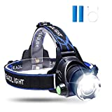 Sotical LED Headlamp Headlight, Head Torch USB Rechargeable Zoomable Flashlight Super Bright 800 Lumen, 4 Modes, Waterproof Adjustable for Running, Walking, Camping, Reading Fishing Cycling Light