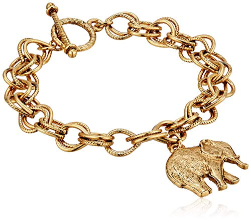 1928 Jewelry Women's 14K Gold Dipped Elephant Charm Toggle Bracelet, Gold, One Size ()
