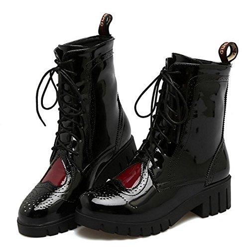 Damen COOLCEPT Brogue Western Schnürstiefeletten Schwarz Schuhe CAAq0drw