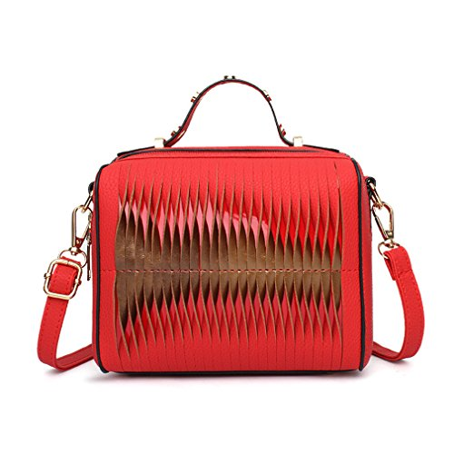 - ANANXILA Fashion Handbags Women Bags Rivet Handbags Casual Cute Simple Crossbody Bags Red 18X14X9cm