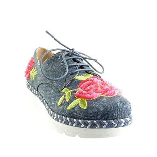 Angkorly - Chaussure Mode Derbies plateforme femme fleurs lignes tréssé Talon compensé plateforme 3 CM - Bleu