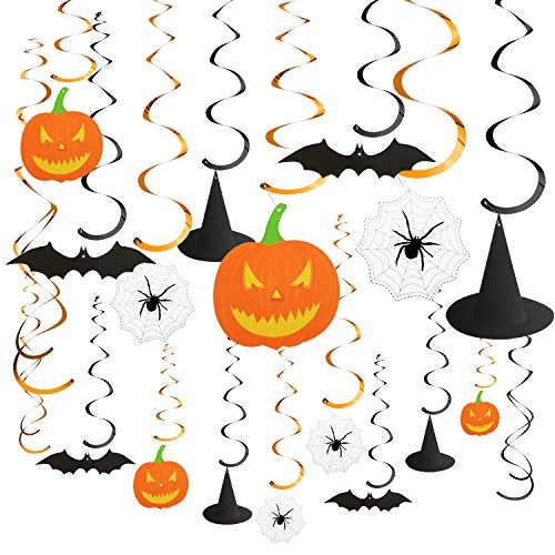BBTO 30 Pieces 39 Inch Halloween Party Hanging Swirl Decoration Kit Scary Theme Ceiling Decorations Witches Hat Bats Spider Pumpkin Monster Swirl Hanging Cards