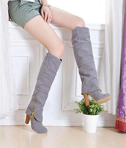 Encantadora Eu Altas 32 Redonda Gray Punta 43 Rodilla La Con De Caballero Tamaño Vestido Puro Chunkly Heel 8cm Botas Cremallera Mujeres Las Color OpUxqdwx