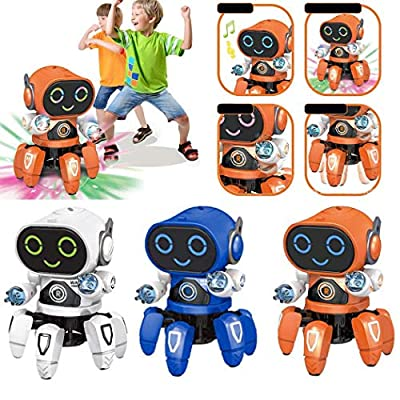 HOTUEEN Children Dancing Robot 7-Color Light Music Six-Claw Fish Electronic Toy Gift Remote- & App-Controlled Figures & Robots: Home & Kitchen
