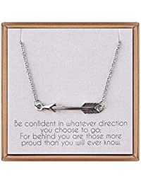 Graduation Gifts for Her - Sideways Arrow Necklace Graduation Necklace with Inspirational Quote Graduation Jewelry Gifts