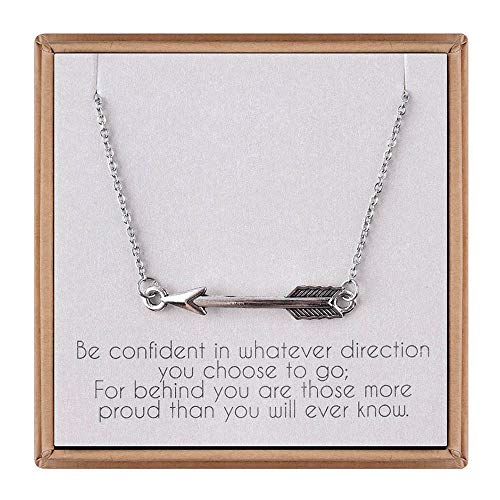 IEFLIFE Graduation Gifts for Her - Sideways Arrow Necklace Graduation Necklace with Inspirational Quote Graduation Jewelry Gifts]()