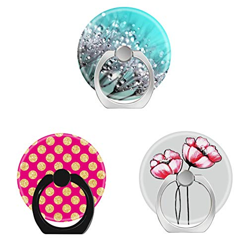 Bsxeos 360°Rotation Cell Phone Holder with Car Mount Work for All Smartphones and Tablets-hot Pink Gold Glitter Polka dots-Pink Watercolor Painted Flowers-Sparkling Dew Dandelion Aqua Cyan(3 Pack) (Sparkling Watercolor)