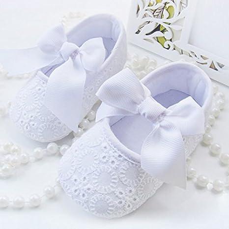 Zorux - Zapatos de Primavera Verano Floral Bebé Niña Princesa Suela Suela Suave Infantil Primeros Paseos Mariposa Nudo Bebé Mocasines Blanco Talla:talla 1: ...