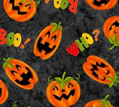 Marcus Brothers 'Who's Watching' Allover Jack-O-Lanterns Halloween Cotton Fabric - 27-Inch Piece]()