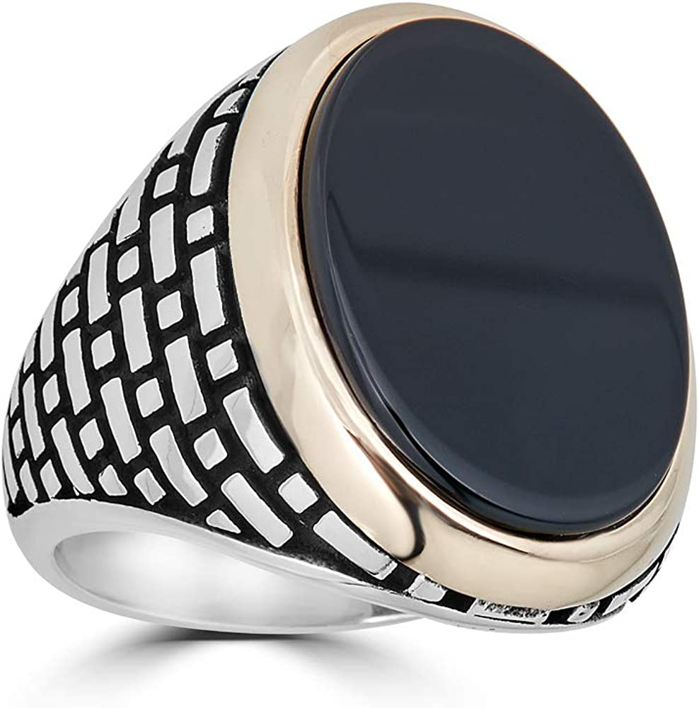 Harlembling Solid 925 Sterling Silver Mens Popular standard Black Ring - Milwaukee Mall Onyx Siz