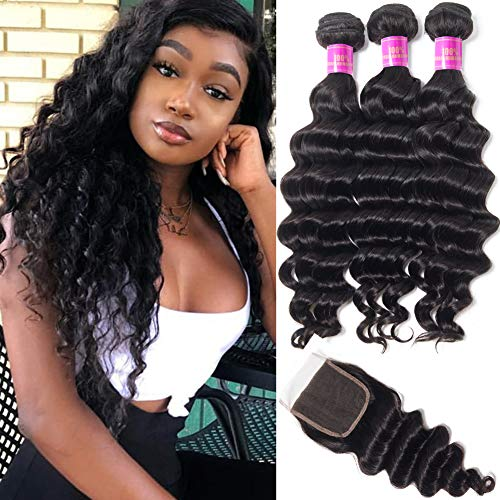 Star Show Hair Malaysian Loose Deep Wave Bundles with Closure Virgin Loose Wave Human Hair Extensions(14 16 18 with 14Free Part Closure) (The Best Malaysian Hair)