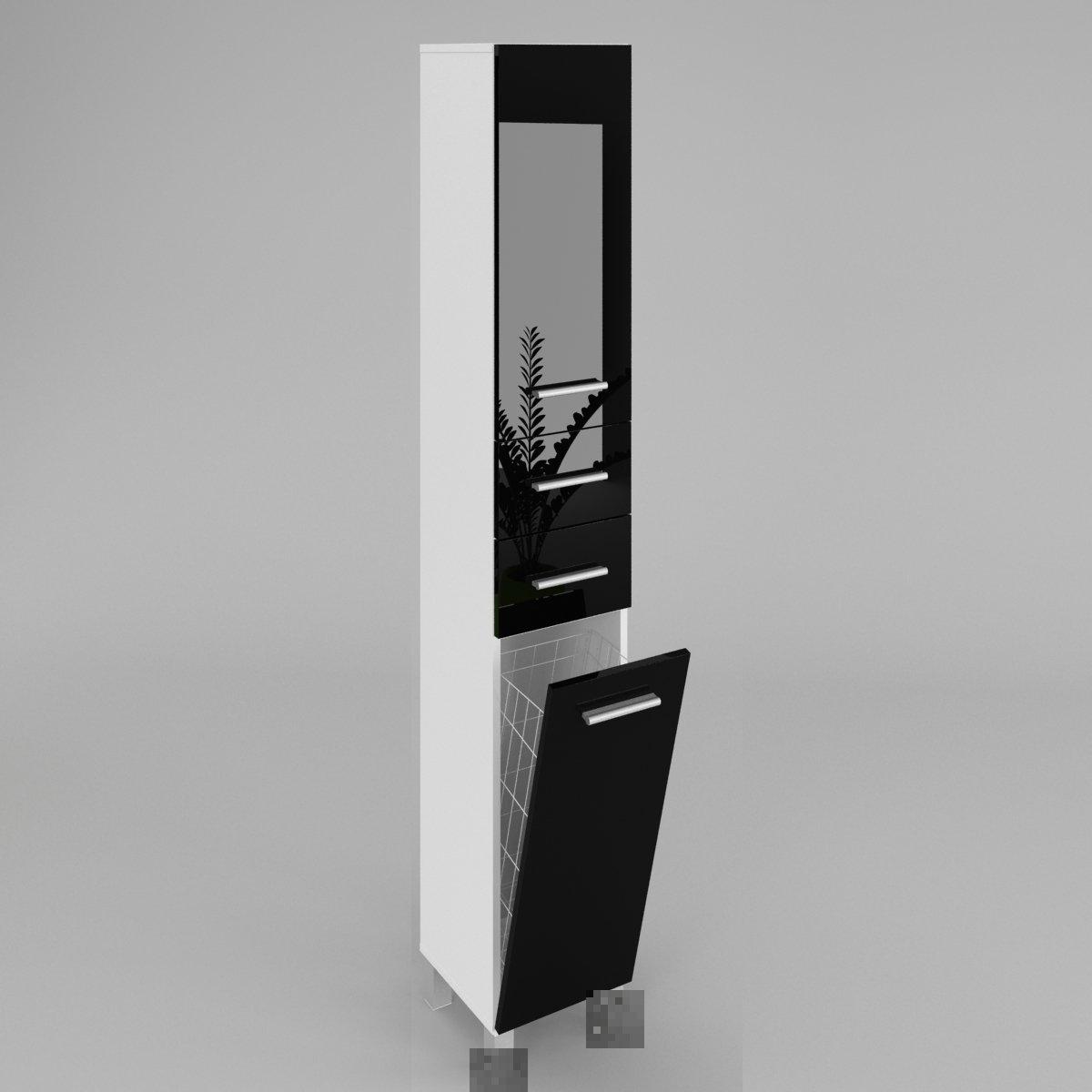 GABI armoire haute salle de bain avec portes et étagères - le corps: blanc haute brillance - le front: noir haute