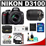 Nikon D3100 Digital SLR Camera and 18-55mm VR + 55-200mm VR Lens with 16GB Card + Filters + Case + Accessory Kit