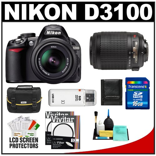 Nikon D3100 Digital SLR Camera and 18-55mm VR + 55-200mm VR Lens with 16GB Card + Filters + Case + Accessory Kit, Best Gadgets