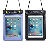 Walnew Universal Waterproof eReader Protective Case Cover Waterproof Bag Sony eBook Reader Wi-Fi - Kobo Touch - Kobo Wi Fi - Nook Simple Touch - iPad Mini and more (2 in Pack) (One Blue & One Black)