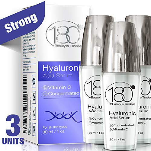 Hyaluronic Acid Serum for Face - Pack Of 3-180 Cosmetics - Face Lift Skin Serum for Face and Eyes - Pure Hyaluronic Acid - Hydrating Serum - Anti Aging - Anti Wrinkle - Wrinkles and Fine Lines