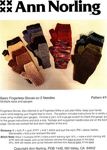 Ann Norling Pattern #74 Basic Fingerless Gloves on 2 Needles (Knitting Pattern For Fingerless Gloves On Two Needles)