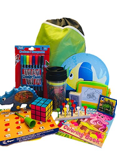 Travel Activity Bag Kit for Kids - Keep children busy on the airplane or in the car. For boys or girls age 6-12. Backpack, toys, games, crafts, travel cup and more. 16 piece bundle. by Generic