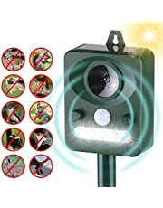 Festnight Solar Ultrasonic Pest Repeller Outdoor Animal Repeller with Ultrasonic Sound Motion Sensor and Flashing Light Keep Animals Away Repellent Squirrels Mouse Bird Cat Dog Bat