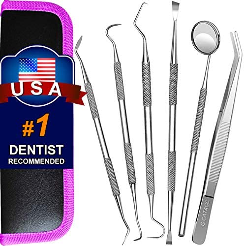 Dental Tools, Plaque Remover for Teeth, Professional Dental Hygiene Cleaning Kit, Stainless Steel Tooth Scraper Plaque Tartar Remover Cleaner, Dental Pick Scaler Oral Care Tools Set - with Case