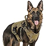 rabbitgoo Tactical Dog Harness Vest Large with Handle, Military Dog Harness Working Dog Vest with MOLLE & Loop Panels, No-Pull Adjustable Training Vest with Metal Buckles & Leash Clips for Walking