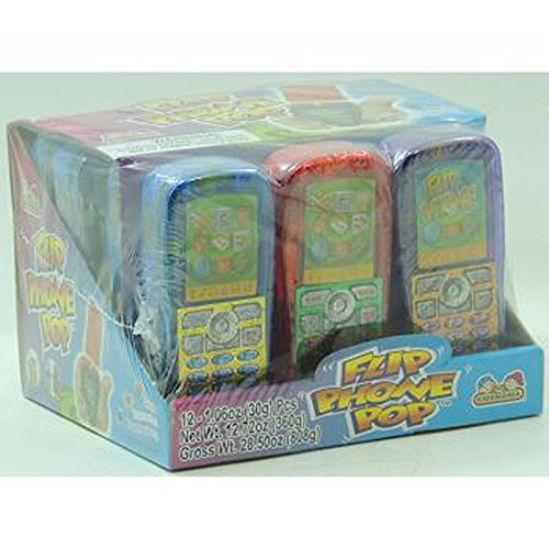 Cell Phone Candy - Kidsmania Flip Phone Pop Assorted Flavor, 12 Count (SUGAR CANDY - NOVELTIES/KIDS)