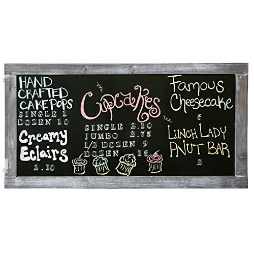 - Vintage Gray Wooden Framed Hanging Chalkboard / Wall Mounted Message Board Sign