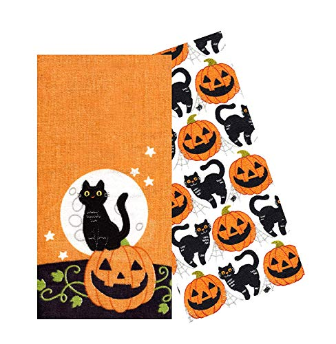 Celebrate Together Embroidery Black Cat Decorative Cotton Kitchen Bath Towels, Set of 2