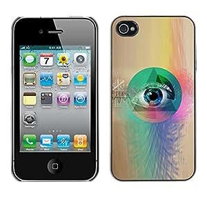 Cubierta de la caja de protección la piel dura para el Apple iPhone 4 / 4S - all seeing mason masonry free