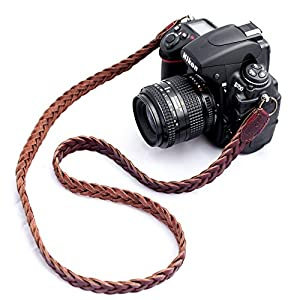 b.still Braided Leather Camera Neck Shoulder Strap for Leica Canon Nikon Fuji Olympus Lumix Sony + FREE Lens Bag