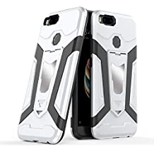 Xiaomi Mi 5X Case, Ranyi [3 Piece Full Body Armor] [Built-in Kickstand] [Shock Absorbing] Metal Texture Rugged Rubber 360 Protective 3 in 1 Case for Xiaomi Mi 5X / Mi A1 (silver)