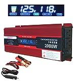 Power Inverter 500W/1000W DC 12V to 110V AC Car Inverter Outlets 2 AC Ports Charger Travel Kit Portable Converter for Laptop (1000W)
