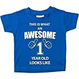 This is What An Awesome 1 Year Old Looks Like Blue Tshirt 1st Birthday Baby Toddler Kids Available in Sizes 0-6 Months t