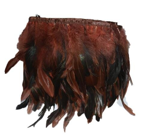 Price comparison product image Feather Fringe Skirt - 2 Yards 12 Color for Selections Rooster Tail Wedding Bride Dresses Decoration Skirt Feathers Party Decorative Boas Strip - Rooster Fringe(Brown)