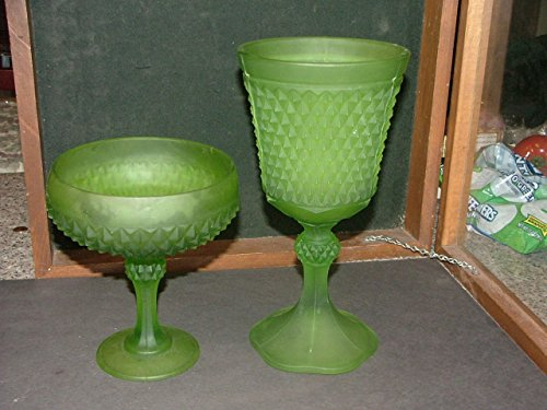 Candy Compote - 2 Indiana Glass Frosted Lime Green Diamong Point Compote Candy Dish