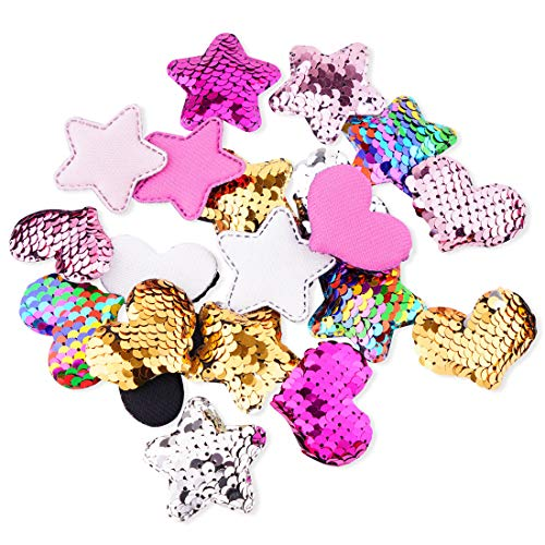 (20Pcs Heart Star Sequins Patch, Mermaid Flip Up Sew on Applique Reversible Sequin Patches for Jackets, Jeans, T-Shirt, Clothes, Hat, Bag)