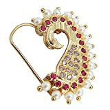 9blings Peacock Bridal Collection Pearl Ruby Gold Plated Piercing Nose Ring for Women