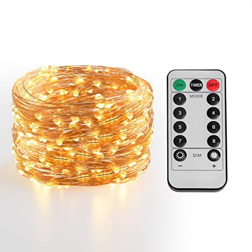 Tira led, Joly Joy Guirnaldas con Luces Decorativas 10m con Control por USB / Remoto Infrarrojo 100 Luces LED Alambre de...