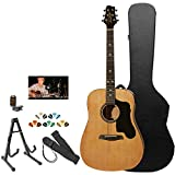Sawtooth ST-ADN-KIT-2 Acoustic Guitar with Black Pickguard-Includes Accessories, Hard Case and Online Lesson