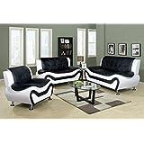 Beverly Fine Furniture F4501 3pc 3 Piece Aldo Modern Sofa Set, BLACK AND  WHITE