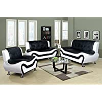 Beverly Fine Furniture F4501-3pc 3 Piece Aldo Modern Sofa Set, BLACK AND WHITE