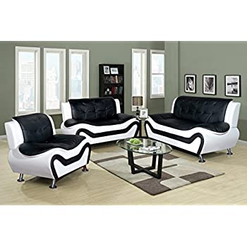 Merveilleux Beverly Fine Furniture F4501 3pc 3 Piece Aldo Modern Sofa Set, Black/White
