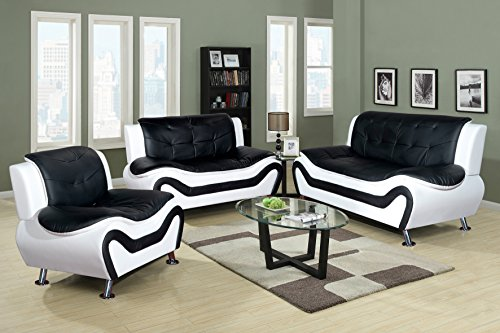 Beverly Fine Furniture 3 Piece Aldo Modern Sofa Set, Black/White (Loveseat Set Sofa And Leather Furniture)