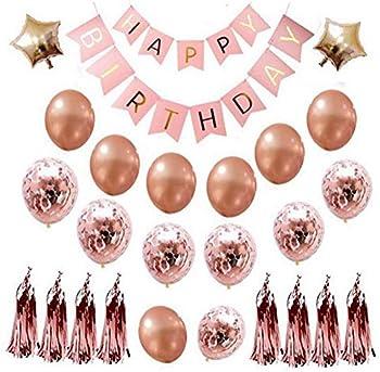 JBER Rose Gold Happy Birthday Balloons Banner Set